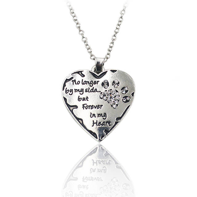 Clear crystal dog paws necklace no longer by my side but forever in clear crystal dog paws necklace no longer by my side but forever in my heart pendant aloadofball Choice Image