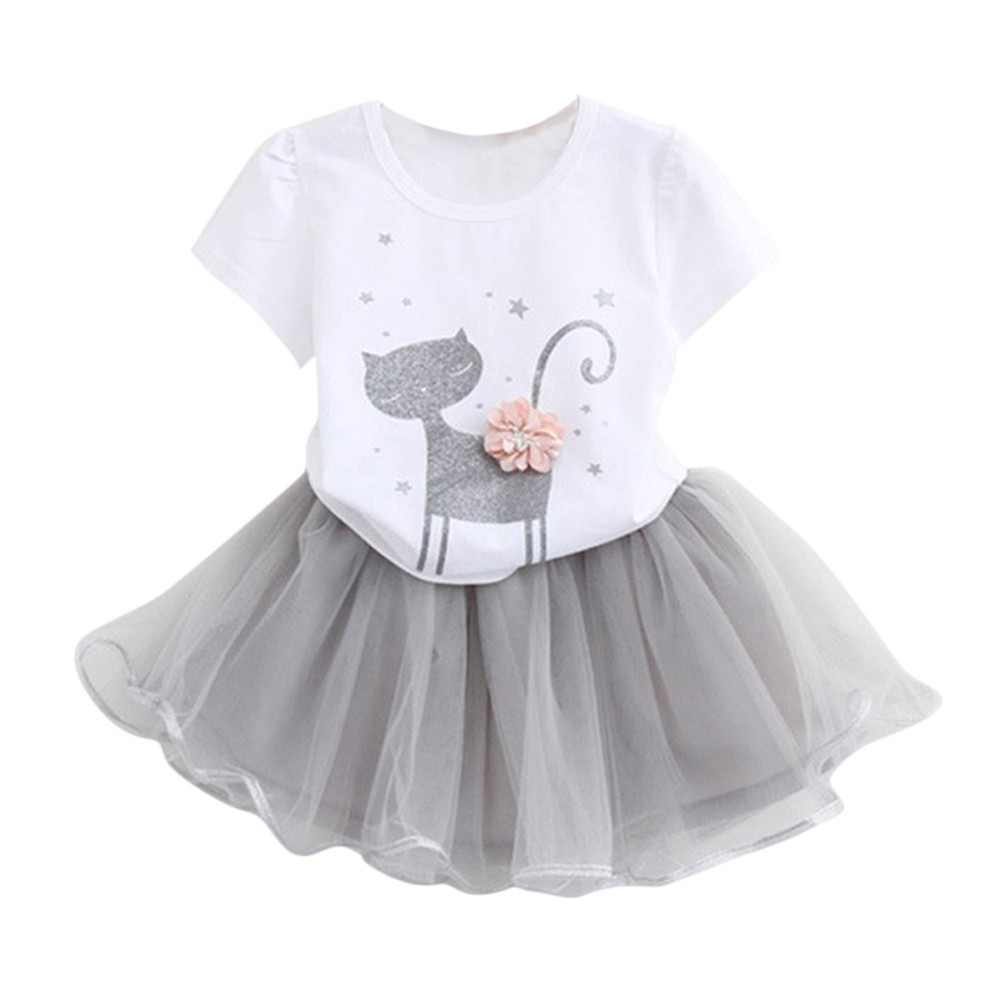 Three-dimensional flower girl cat T-shirt + yarn skirt suit Kids Girls Cartoon Little Kitten Printed Shirt Dress Y-NEW