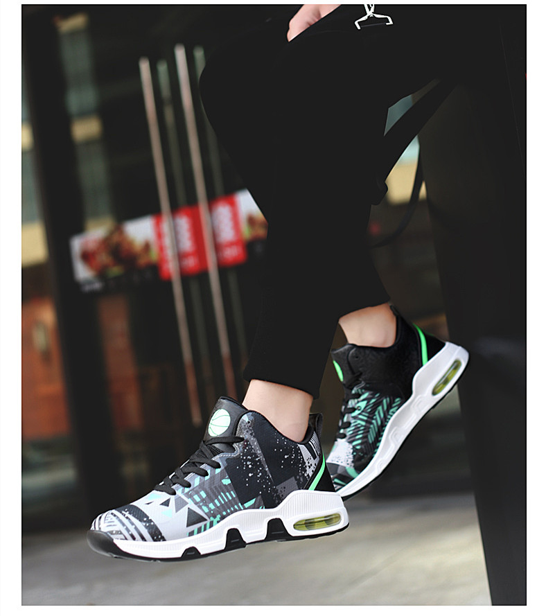 Plus Size 35-46 Sport Fashion Sneakers Women Breathable Geometric Basket Female Men's Casual Shoes Air Cushion Sneakers NX013 (16)