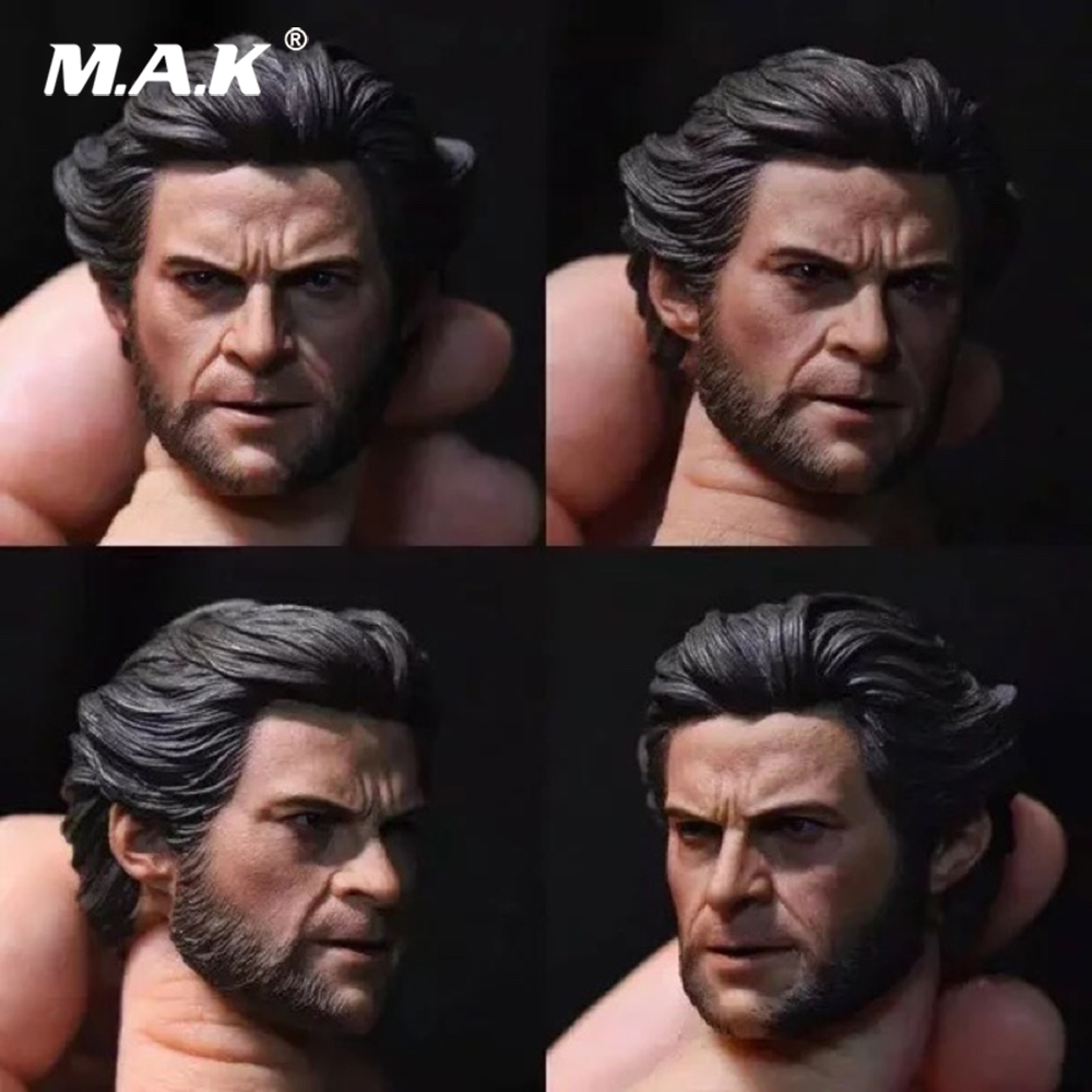 все цены на 1/6 Scale Male Head Sculpt Wolverine Wolf Logan Head Carving for 12 inches Action Figure Body онлайн