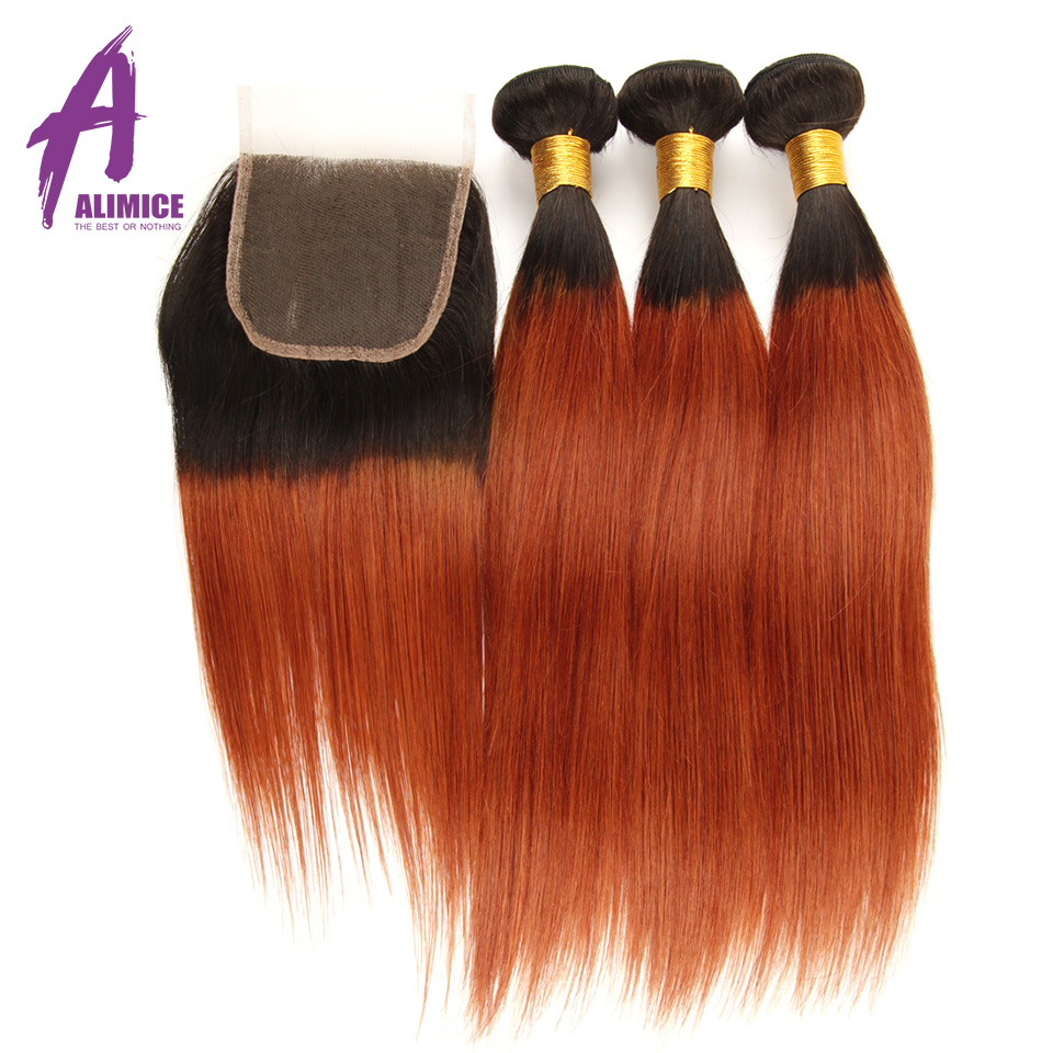 Alimice Ombre Human Hair Bundles With Closure 3 Bundles With Closure Dark Roots T1B 350 Colored