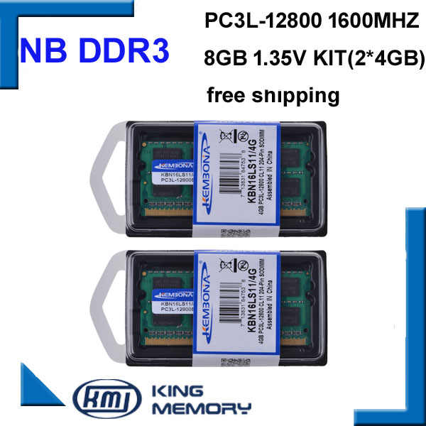 Ноутбук KEMBONA PC3L с низким энергопотреблением, DDR3, 8 ГБ, 1,35 в, 1600Mzh (комплект 2X4GB), DDR3, модуль памяти So-DIMM с 204 контактами, оперативная память
