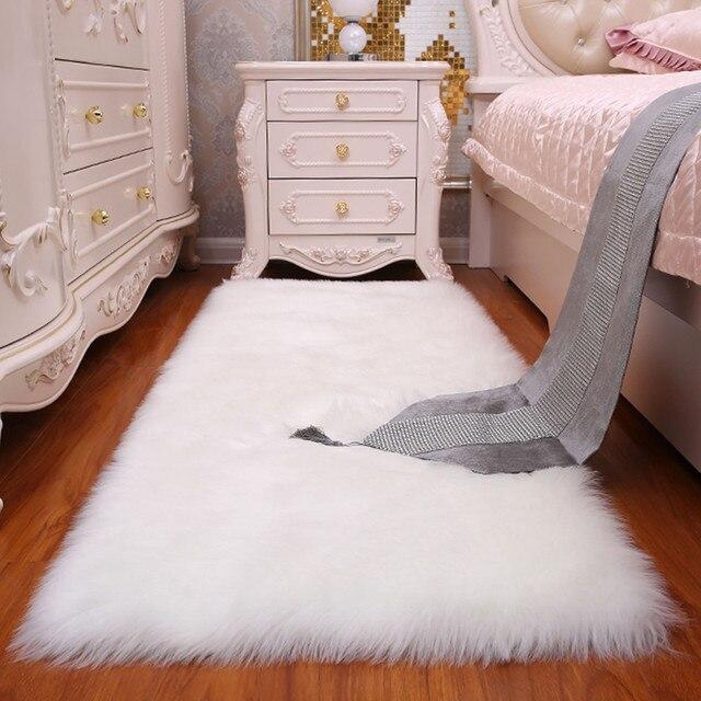 Faux Sheepskin Chair Cover White Warm Hairy Wool Carpet Seat Pad