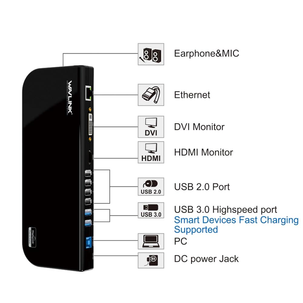 Wavlink 7 puertos USB 3,0/2,0 estación de acoplamiento Universal doble cabeza hasta 1080 P 2 K HD estación de acoplamiento para ordenador portátil para Mac OS Windows US/ - 5
