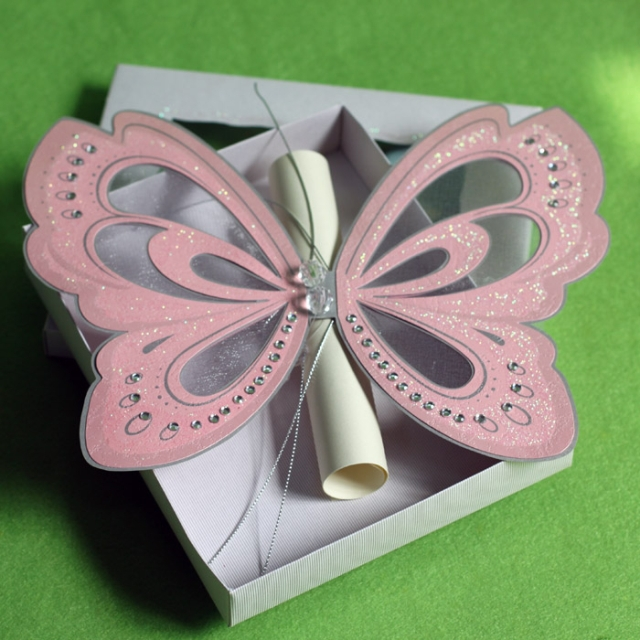Creative Pink Elegant Butterfly Wedding Invitations with