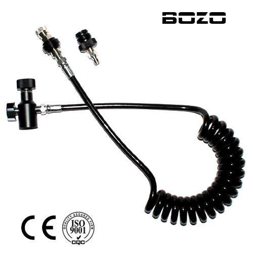 Coil Remote Hose Thick Line 2.5M And 1500psi Gauge WITH Slide Check With Quick Disconnect Part (BLACK) Airsoft Paintball New