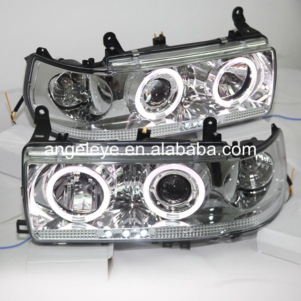 For Toyota  For Land Cruiser LC80 FJ80 Prado 4500 1990-1997 Year LED Angel Eye Headlights Chrome Housing SN