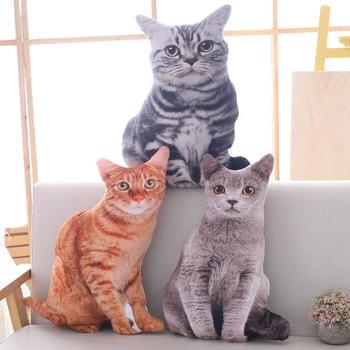 Simulación de gatos en 3D suaves de 50cm, asiento doble lateral, sofá, almohada cojín bonito, animales de peluche, muñecos de gato, juguetes, regalos de cumpleaños