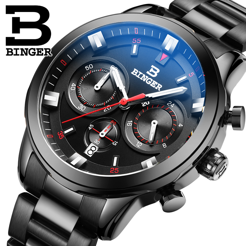 Genuine Luxury BINGER Brand Men leather strap waterproof full steel quartz male calendar luminous sports fashion watch 2017 luxury brand binger date genuine steel strap waterproof casual quartz watches men sports wrist watch male luminous clock