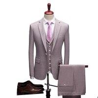 Светло фиолетовый свадебные Жених костюмы роскошные 2019 Skinny Fit мужской Бизнес рабочие костюмы для выпускного мужские костюмы с жилет куртка