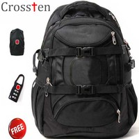 Crossten Swiss Military Army Travel Bags Laptop Backpack 15 6 Multifunctional Schoolbag Hiking Bag Waterproof Fabric