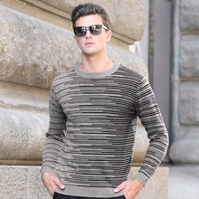Spring And Autumn New Arrive Men's Knit Sweaters Men Fashion O-Neck Sweater Long-sleeved Color Matching Striped Sweater