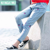 Girls Jeans Children S Clothing Spring For Big Girl Pants Baby Cherry Jeans Fashion Trousers Autumn