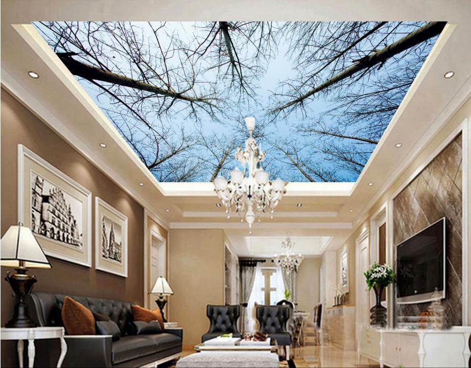 Mode Personnalisee Bref 3d Plafond Bleu Ciel 3d Papier Peint Pour