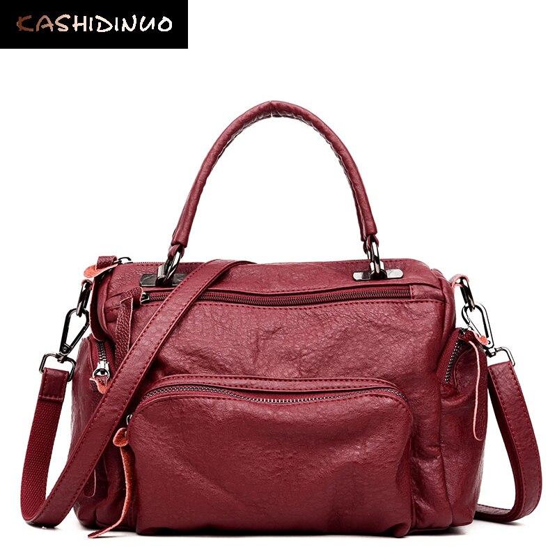 KASHIDINUO Brand Vintage Women Leather Handbags High Quality Shoulder Bag Luxury Ladies Casual Totes Female Messenger Bags Bolsa