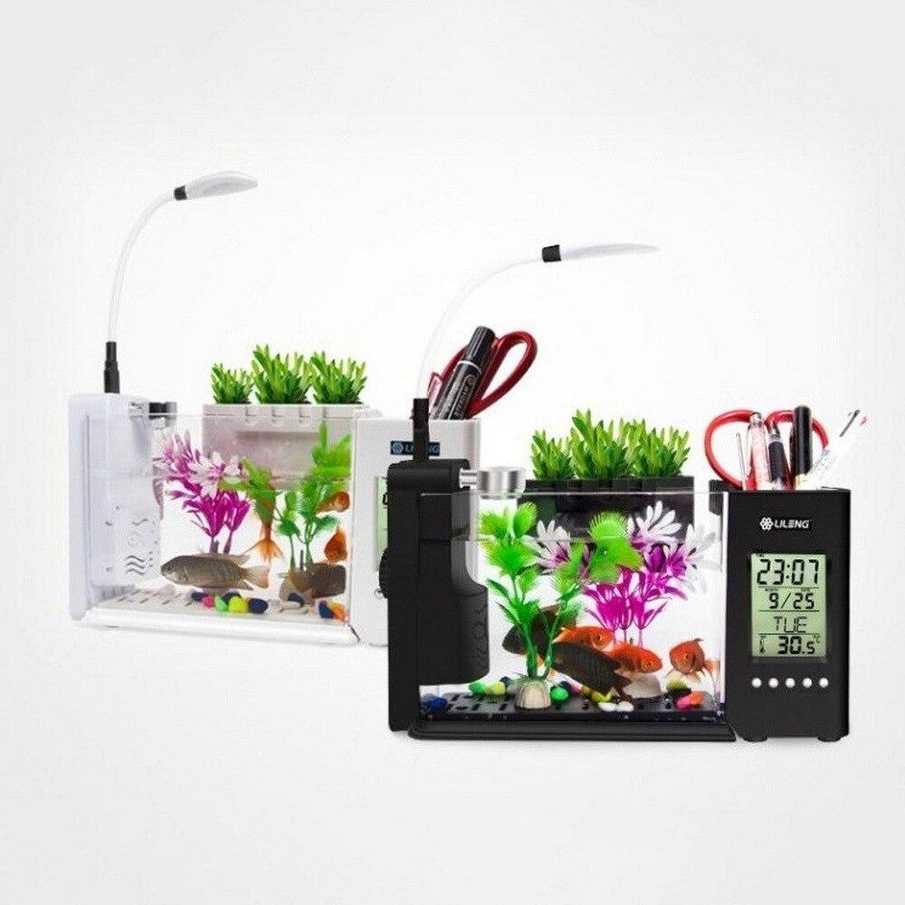 Mini réservoir de poissons en plastique LED pour aquarium allumant les réservoirs de poissons d'usb Betta avec l'écran d'affichage à cristaux liquides de porte-stylo et l'horloge Acquario