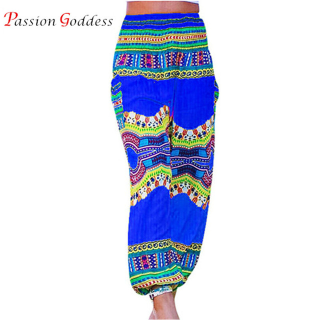 2016 Autumn Women Casual Long Wide leg Pants Elastic Waist High Fashion national wind totem print Loose indian Bloomers Pants