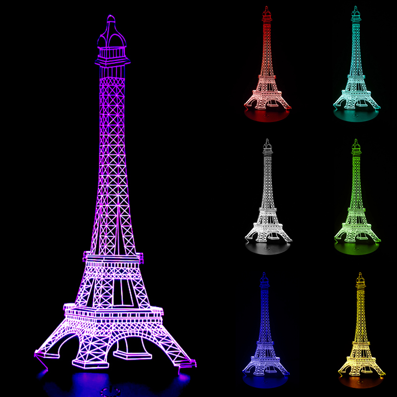 Design 3D lamp LED Night Light The Eiffel Tower 3D Illusion Night Lamp Table Desk Lamp Home Lighting Color Changing SA718 T45 touching color changing 3d illusion fish led night light
