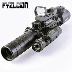 Táctico 3-9X32EG rifloscopio de largo alcance rojo punto láser/rojo/Verde punto holográfico vista 3 en 1 Combo para Rifle/Airsoft