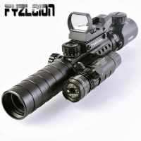 Tactical 3 9X32EG Riflescope Long Range Red Dot Laser/ Red/Green Dot Holographic Reflex Sight 3 in 1 Combo for Rifle /Airsoft