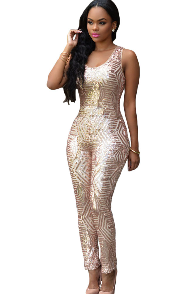69f49c6aa2 Sexy Ladies Summer Black Gold Geometric Sleeveless Long Sequin Jumpsuit  Romper Overall macacao largos de mujer LC60895 on Aliexpress.com