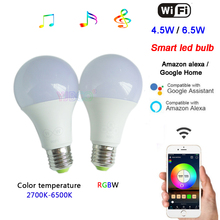 Wholesale 4.5W/6.5W WiFi Smart LED Bulb E27 Wifi Voice Control Color temperature/RGBW Timing Light Bulb for Android 4.0/IOS9.0