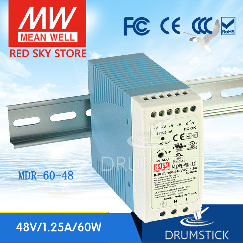 Hot! MEAN WELL MDR-60-48 48V  meanwell MDR-60 60W Single Output Industrial DIN Rail Power Supply [freeshiping 12pcs] mean well original mdr 40 24 24v 0 83a meanwell mdr 40 39 8w single output industrial din rail power supply
