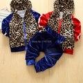 2014 Korean version of the new children's clothing for boys and girls fashion leopard velvet hooded sports suit