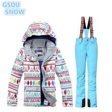 цена на GSOU SNOW High Quality Women's Winter Jackets Waterproof Windproof Snowboarding Suits Ski Suit Kit Jacket + Ski pants super warm