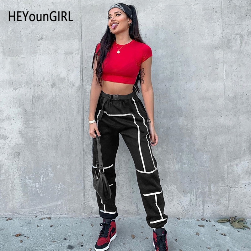 HEYounGIRL Elastic High Waist Trousers Women Reflective Stripes Casual   Pants     Capri   Black Harajuku Joggers and Sweatpants Summer