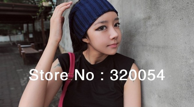 Free shipping 2013 NEW Fashion Knitted Cap Men And Women Autumn/Winter Warm Hat Striped Elastic Hair Band Multicolor wholesale trans men cu multicolor 2013 2014 157