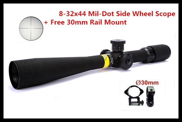 Hot Free Shipping Tactical 8-32x44 Mil-Dot Side Wheel Focus Hunting Rifle Scope with Free 30mm Rail Mounts new arrival and hot sale tactical vt 2 4 16x50mm ir side focus rifle scope for hunting bwr 140