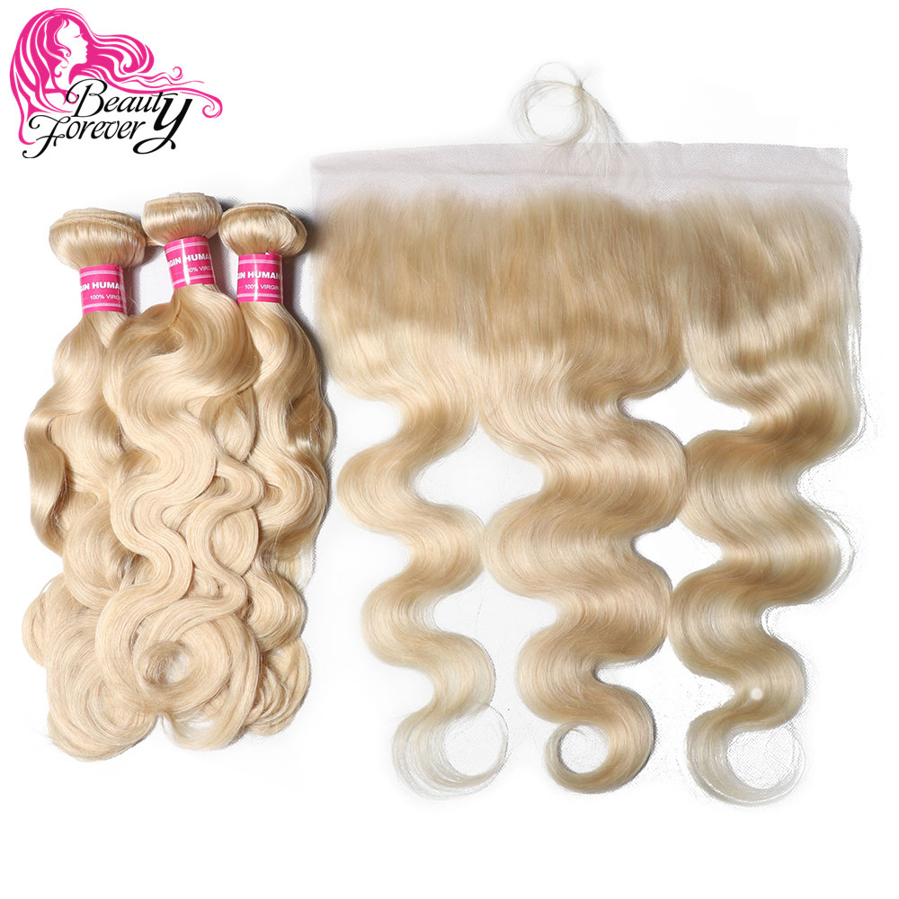 Beauty Forever 13 4 Lace Frontal Brazilian Body Wave Human Hair Bundles With Closure Free Part