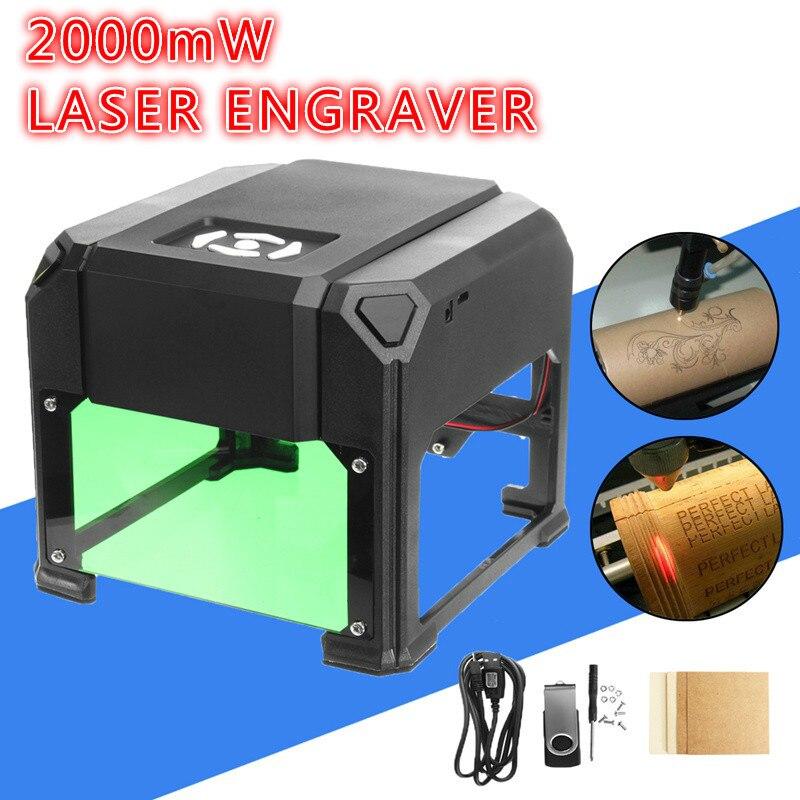 2000 mw/3000 mw Usb Machine de gravure Laser de bureau bricolage marque imprimante Cutter CNC Laser sculpture Machine pour système Win/mac Os