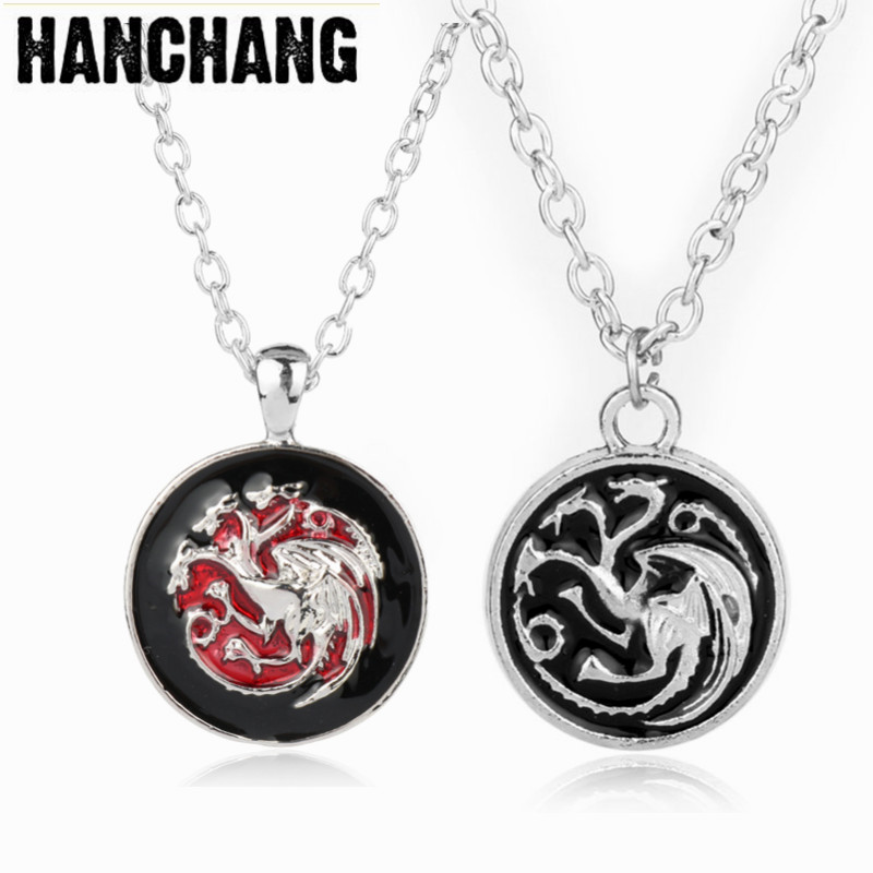 Came of thrones Ice of songs Necklace Dragon Pendant Necklace Link Chain Fashion Necklace Colar Mens Jewellery