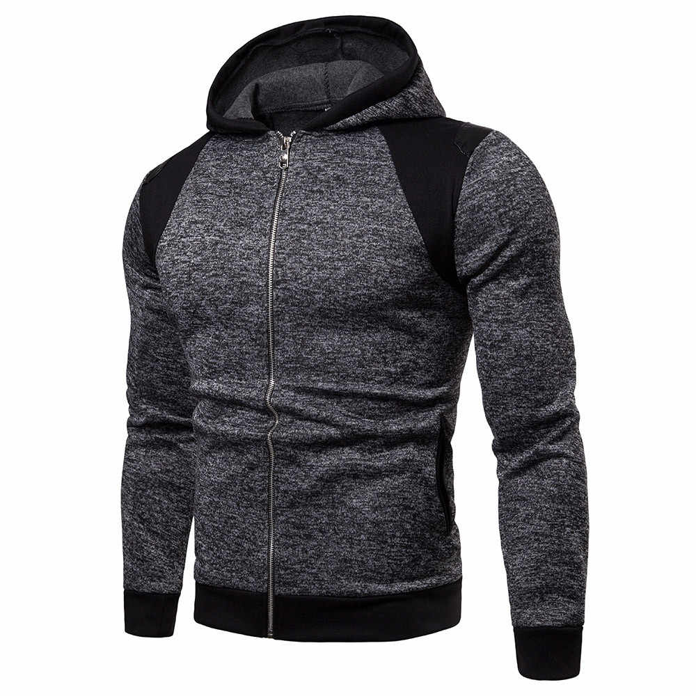 Men Casual Spring Autumn Lightweight Fleece Jacket 2019 New Arrival Hooded Contrast Color Zipper up Jackets Outwear Cheap