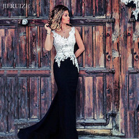 JIERUIZE White and Black Mermaid Evening Dresses Long V neck Backless Long Prom Dresses Formal Dress Evening Gowns