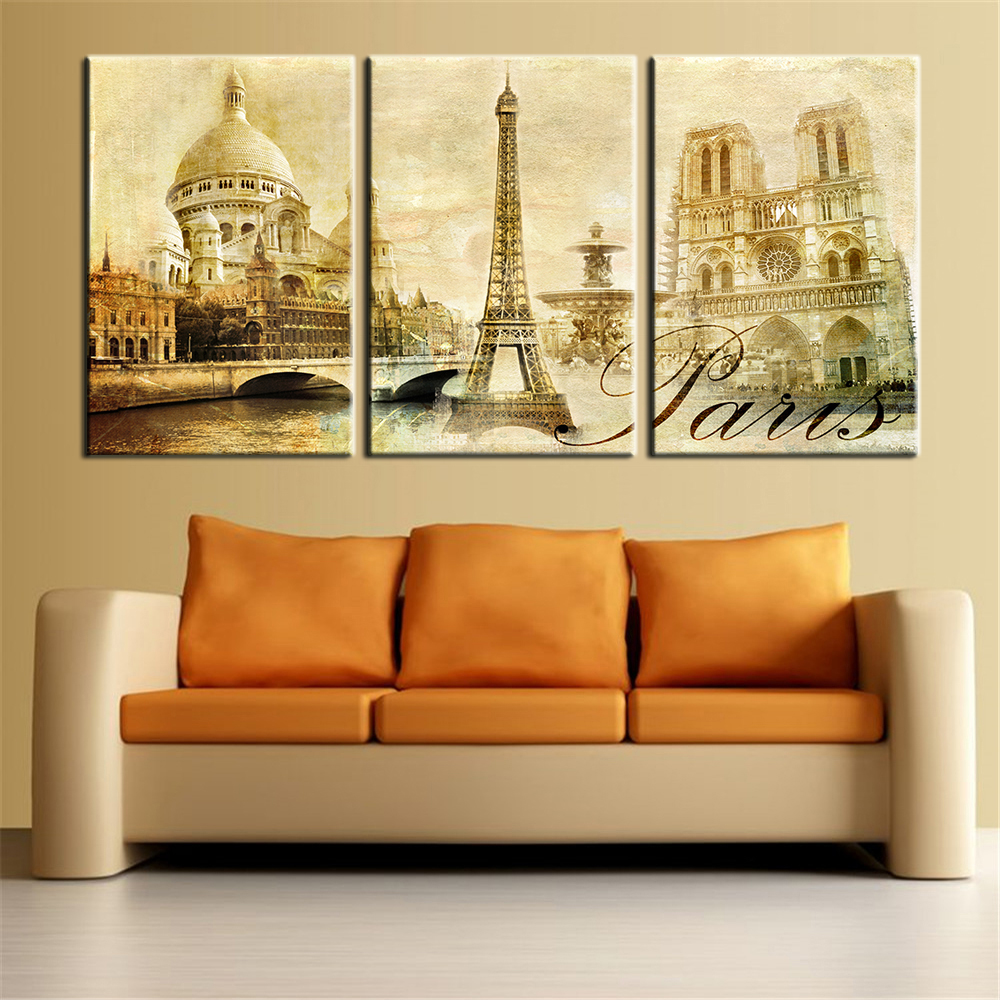Wall Art Pictures Paris Famous Buildings Large Modern Home