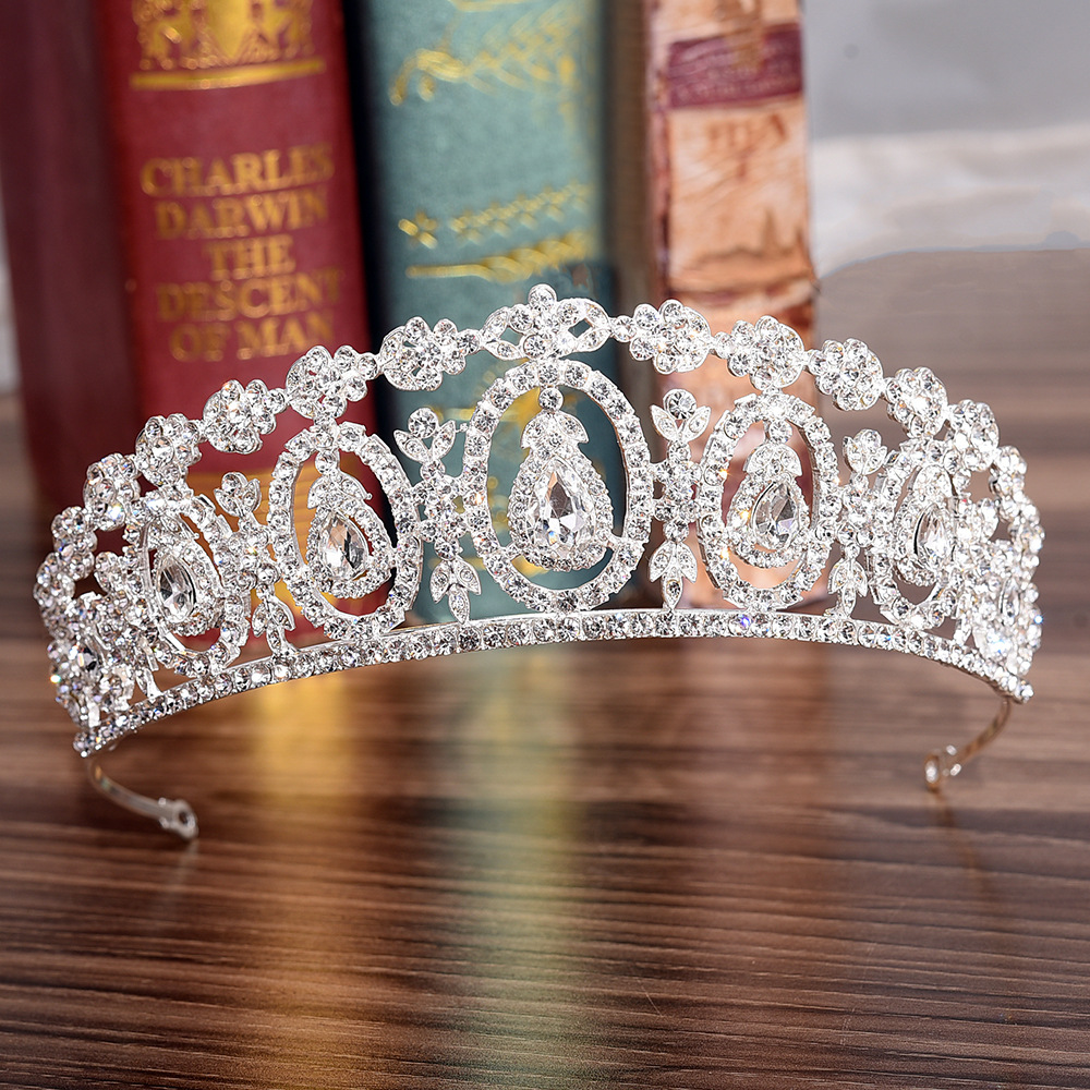 KMVEXO Fashion Crystal Wedding Bridal Tiara Crown For Women Prom Diadem Hair Ornaments Wedding Bride Hair Jewelry Accessories red crystal wedding crown queen tiara bride crown headband bridal accessories diadem mariage hair jewelry ornaments