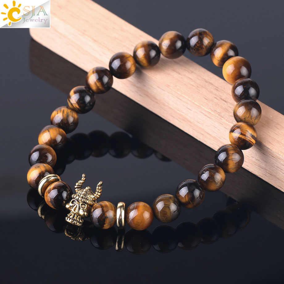 CSJA Rosario Budista bransoletka dla mężczyzn naturalne kamienie tygrysie oko zroszony Homme kobiety bransoletki charms w kolorze złota bransoletka biżuteria F426