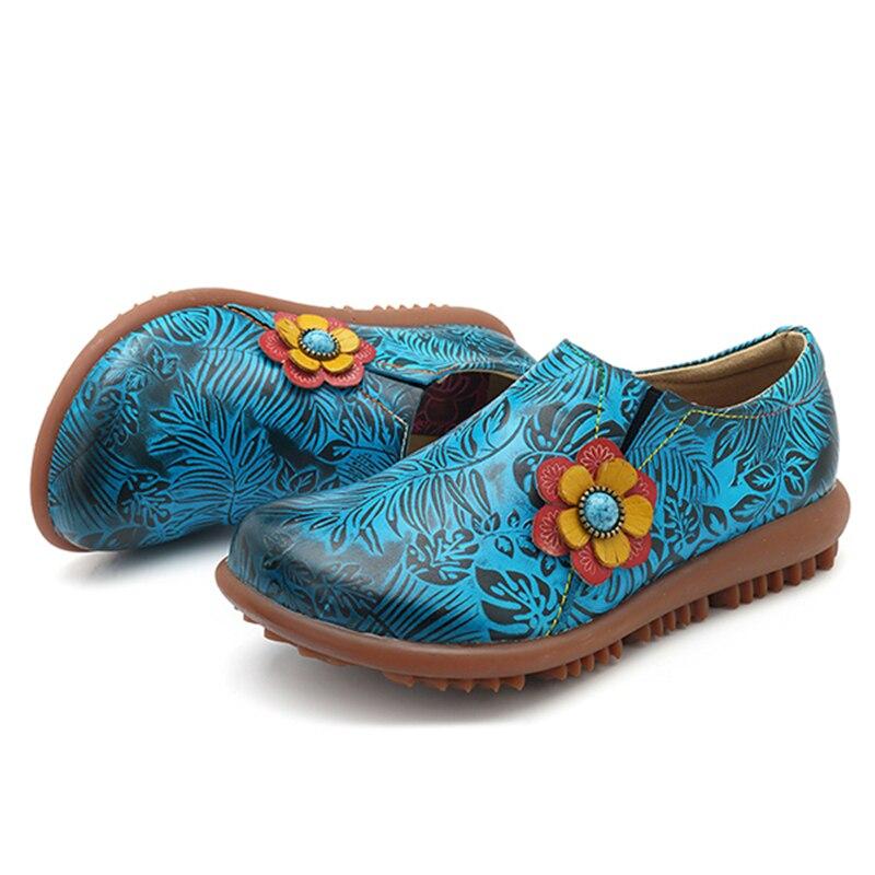 Redonda Verano Las Genuino on Mocasines Socofy Mujer Mujeres Suela De Zapatos Cuero Suave Planos Azul Vintage Impreso Slip Punta Zapatillas Deporte qXwXZTx6