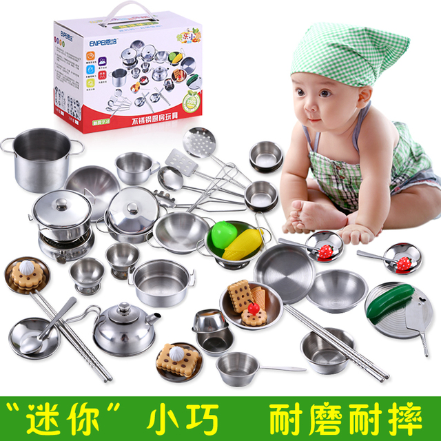 40 Pcs Child Kitchen Toys Set Male Girl Child Baby Toy Stainless