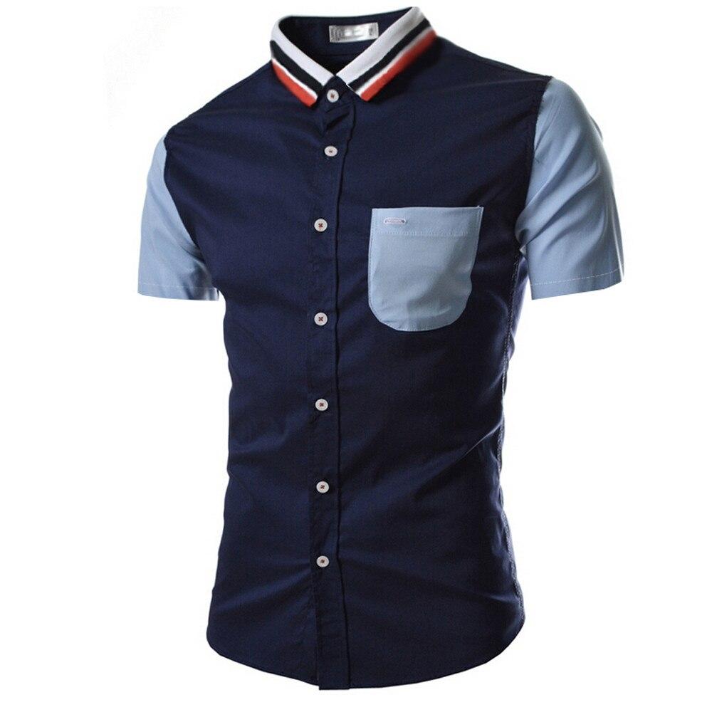 100% QualitäT Männer Shirt Mode Einfarbig Männlichen Casual Kurzarm Shirt Eine VollstäNdige Palette Von Spezifikationen