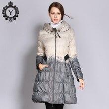 COUTUDI 2017 invierno más tamaño abajo Coat mujeres Parkas mujer largo pato abajo chaqueta Hit Color de alta calidad de las mujeres ropa