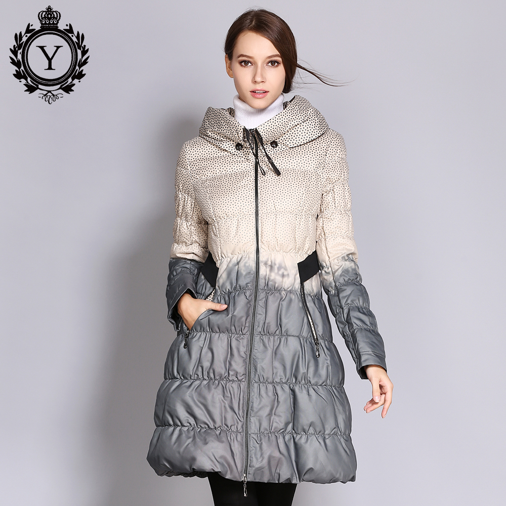 COUTUDI 2018 Winter Down Coat Women Parka Female Long Duck Down Padded Jacket Down Parka Hit Color High Quality Women's Clothing