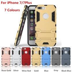 SYCASE Iron Man Super Protection 3 en 1 TPU + PC + support étui pour iphone 7 7 Plus 6 s 6 5 s 5 antichoc coque arrière avec support