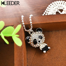 KLEEDER Kawaii Panda Pendant Necklace for Women Kids Alloy Rhinestone Crystal Sweater Necklace Fashion Jewelry Accessories Gifts(China)