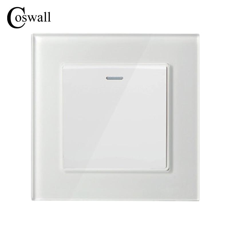 COSWALL 1 Gang 2 Way Luxus Kristall Glasscheibe Lichtschalter Taster Wand Schalter Interruptor 16A