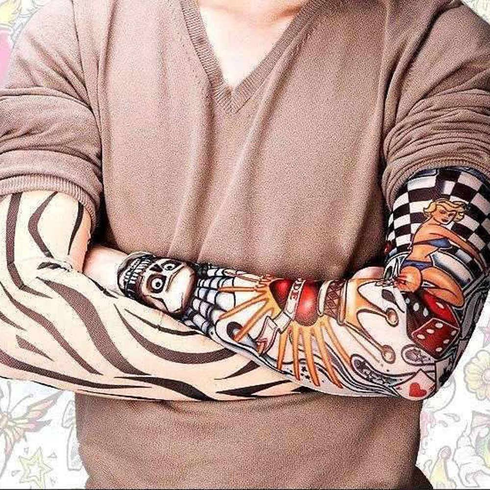 6Pcs Unisex Temporary 3D Tattoo Printed Armwarmer Arm Sleeves Kit New Fashion Outdoor Sports Sunscreen Protection Arm Sleeves
