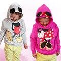 2016 Nova Outono Do Bebê Meninas Meninos 3d Rato Minnie Moletom Com Capuz Tops Camisola Outwear Criança Roupas